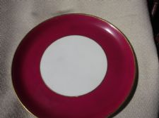 "RARE ANTIQUE GILDED 9"" PLATE ROYAL WORCESTER 1874 IMPRESSED MARK RICH CERISE RIM"